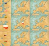 Χάρτης της Ευρώπης - σύνολο 3 θερινού ύφους Στοκ Εικόνα