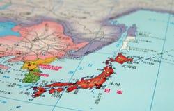 χάρτης της Ιαπωνίας λεπτομέρειας nihon Στοκ Εικόνες