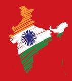 χάρτης της Ινδίας σημαιών 2 ένν& Στοκ Εικόνες