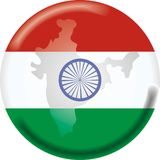 χάρτης της Ινδίας σημαιών Στοκ Εικόνες
