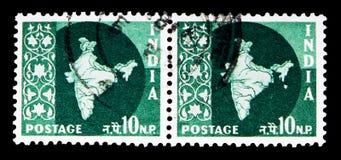 Χάρτης της Ινδίας, serie, circa 1958 Στοκ Φωτογραφία