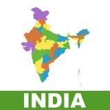 Χάρτης της Ινδίας με τα ομοσπονδιακά κράτη Επίπεδο διάνυσμα Στοκ Φωτογραφίες