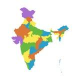 Χάρτης της Ινδίας με τα ομοσπονδιακά κράτη Επίπεδο διάνυσμα ελεύθερη απεικόνιση δικαιώματος