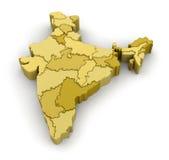 χάρτης της Ινδίας Στοκ Φωτογραφίες