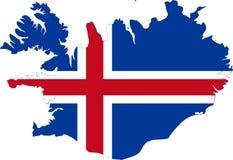 Χάρτης της Ισλανδίας, σημαία διανυσματική απεικόνιση