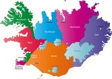 Χάρτης της Ισλανδίας διανυσματική απεικόνιση