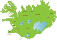 Χάρτης της Ισλανδίας Στοκ Εικόνα
