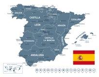 Χάρτης της Ισπανίας - απεικόνιση Στοκ Εικόνα