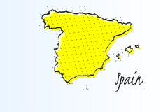 Χάρτης της Ισπανίας, ημίτονο αφηρημένο υπόβαθρο r διανυσματική απεικόνιση