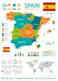 Χάρτης της Ισπανίας - infographic σύνολο Στοκ Εικόνες