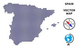 Χάρτης της Ισπανίας Pixelated απεικόνιση αποθεμάτων