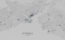 Χάρτης της Ιστανμπούλ, δορυφορική άποψη, πόλη, Τουρκία Στοκ εικόνα με δικαίωμα ελεύθερης χρήσης