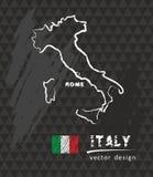Χάρτης της Ιταλίας, διανυσματικό στρέθιμο της προσοχής στον πίνακα ελεύθερη απεικόνιση δικαιώματος