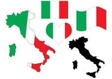 χάρτης της Ιταλίας καρδιών σημαιών Στοκ Εικόνες