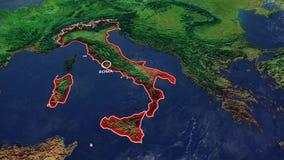 Χάρτης της Ιταλίας, μεσογειακός χάρτης, χάρτης με τις ανακουφίσεις και βουνά της μεσογειακής Ευρώπης απόθεμα βίντεο