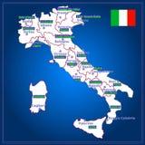 Χάρτης της Ιταλίας με τις ιταλικές περιοχές Στοκ Φωτογραφία