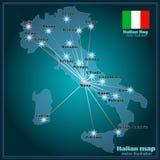 Χάρτης της Ιταλίας με τις μεγάλες πόλεις στη νύχτα διάνυσμα Στοκ Φωτογραφίες