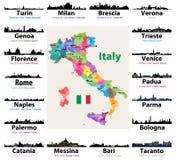 Χάρτης της Ιταλίας με τις μεγαλύτερες ιταλικές σκιαγραφίες οριζόντων πόλεων διανυσματική απεικόνιση