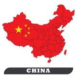 Χάρτης της Κίνας και σημαία της Κίνας ελεύθερη απεικόνιση δικαιώματος