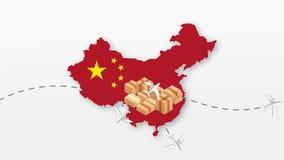 Χάρτης της Κίνας με τα κουτιά από χαρτόνι σφαιρική ναυτιλία απεικόνιση αποθεμάτων
