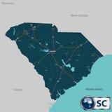 Χάρτης της Καρολίνας κρατικού νότου, ΗΠΑ διανυσματική απεικόνιση