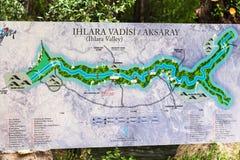 Χάρτης της κοιλάδας Ihlara στο φαράγγι σε Cappadocia Στοκ εικόνα με δικαίωμα ελεύθερης χρήσης