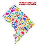 Χάρτης της Κολούμπια περιοχής της Ουάσιγκτον - μωσαϊκό των τριγώνων χρώματος ελεύθερη απεικόνιση δικαιώματος