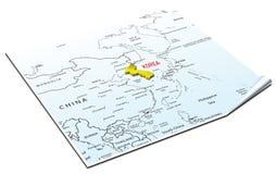 χάρτης της Κορέας Στοκ Φωτογραφίες