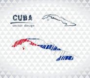 Χάρτης της Κούβας με σχεδιαζόμενο το χέρι χάρτη μανδρών σκίτσων μέσα επίσης corel σύρετε το διάνυσμα απεικόνισης απεικόνιση αποθεμάτων