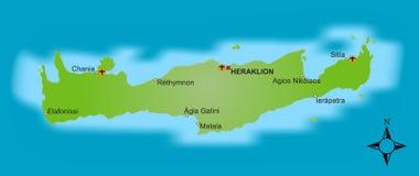 χάρτης της Κρήτης Στοκ φωτογραφίες με δικαίωμα ελεύθερης χρήσης