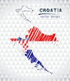 Χάρτης της Κροατίας με σχεδιαζόμενο το χέρι χάρτη σκίτσων μέσα επίσης corel σύρετε το διάνυσμα απεικόνισης ελεύθερη απεικόνιση δικαιώματος