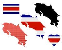 Χάρτης της Κόστα Ρίκα Στοκ Εικόνα