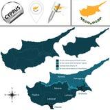 χάρτης της Κύπρου διανυσματική απεικόνιση