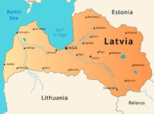 χάρτης της Λετονίας Στοκ Εικόνες