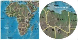 Χάρτης της Λιβύης και της Αφρικής απεικόνιση αποθεμάτων