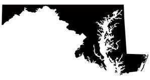 Χάρτης της Μέρυλαντ, ΗΠΑ, χώρα, σκιαγραφία διανυσματική απεικόνιση