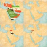 Χάρτης της Μέσης Ανατολής - της Ασίας - όλες οι χώρες, κενός χάρτης, Ιράκ και Συρία Στοκ Φωτογραφία