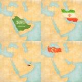 Χάρτης της Μέσης Ανατολής - της Σαουδικής Αραβίας Στοκ Φωτογραφία