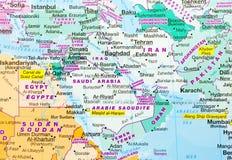 Χάρτης της Μέσης Ανατολής Στοκ φωτογραφία με δικαίωμα ελεύθερης χρήσης