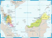 Χάρτης της Μαλαισίας - λεπτομερής διανυσματική απεικόνιση ελεύθερη απεικόνιση δικαιώματος
