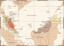 Χάρτης της Μαλαισίας - λεπτομερής τρύγος διανυσματική απεικόνιση Στοκ Φωτογραφία