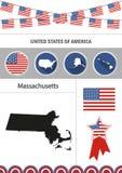Χάρτης της Μασαχουσέτης Σύνολο επίπεδου nfographics εικονιδίων σχεδίου eleme απεικόνιση αποθεμάτων