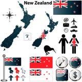 Χάρτης της Νέας Ζηλανδίας Στοκ Εικόνες