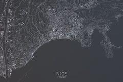Χάρτης της Νίκαιας, δορυφορική άποψη, Γαλλία Στοκ φωτογραφία με δικαίωμα ελεύθερης χρήσης