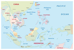 Χάρτης της Νοτιοανατολικής Ασίας απεικόνιση αποθεμάτων