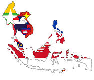Χάρτης της Νοτιοανατολικής Ασίας Στοκ Εικόνα