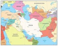 Χάρτης της νοτιοδυτικής Ασίας Στοκ φωτογραφία με δικαίωμα ελεύθερης χρήσης
