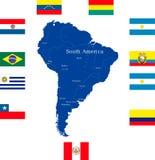 Χάρτης της Νότιας Αμερικής διανυσματική απεικόνιση