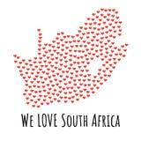 Χάρτης της Νότιας Αφρικής με τις κόκκινες καρδιές - σύμβολο της αγάπης αφηρημένη ανασκόπηση Στοκ Εικόνες