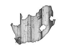 Χάρτης της Νότιας Αφρικής στο ξεπερασμένο ξύλο Στοκ Φωτογραφία